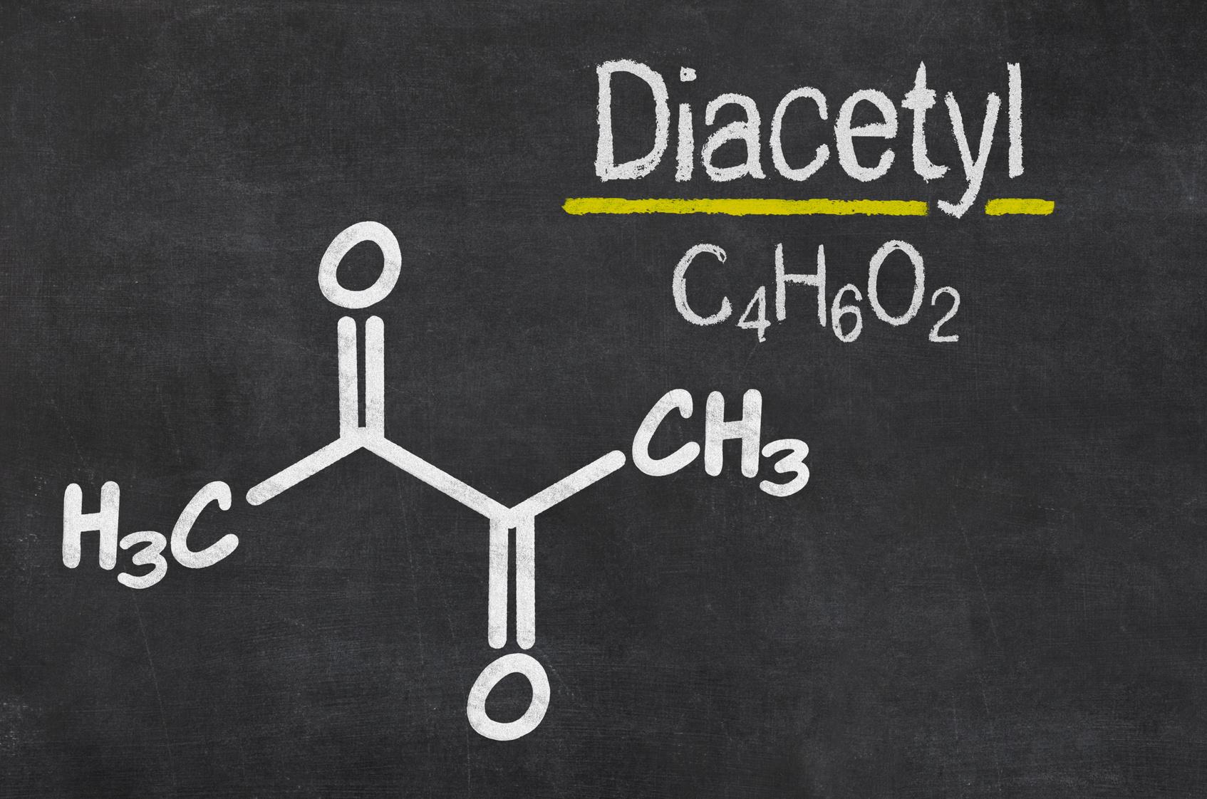 Schiefertafel mit der chemischen Formel von Diacetyl